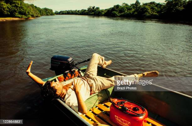 Actor Angelo Antonio relax during a break on the recordings of Pantanal, Brazilian telenovela TV serial drama , soap opera - originally aired in 1990...