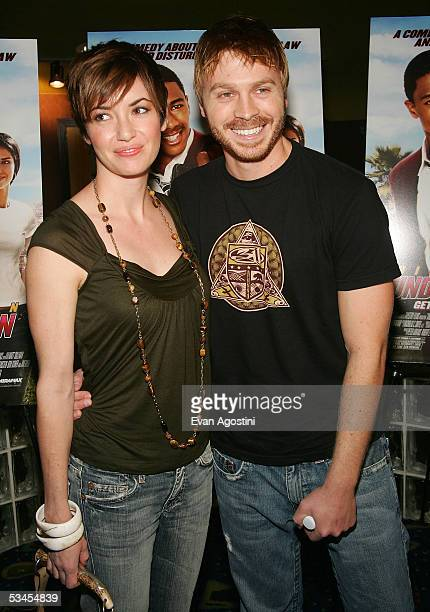Actor Angelo Spizzirri and wife Landis attend the New York premiere of 'Underclassman' at Clearview Chelsea West August 23 2005 in New York City