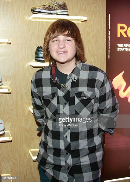 Actor Angus T. Jones poses at Reebok during the Kari Feinstein Golden Globes Style Lounge at Zune LA on January 14, 2010 in Los Angeles, California.