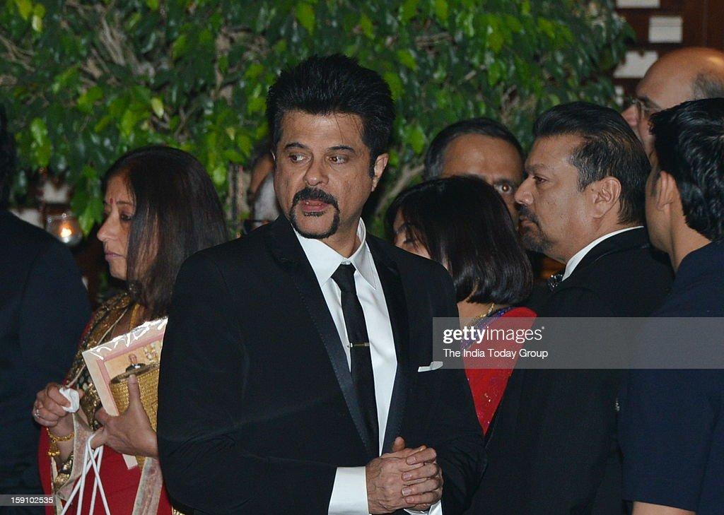 Actor Anil Kapoor at Dhirubhai Ambani's granddaughter Nayantara's engagement party, hosted by Mukesh Ambani and Nita Ambani at Antilla in Mumbai on Saturday, January 5, 2013.