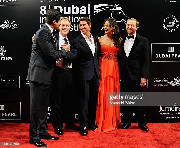 Actor Anil Kapoor director Brad Bird and actors Tom Cruise Paula Patton and Simon Pegg attend the Mission Impossible Ghost Protocol Premiere during...