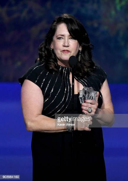Actor Ann Dowd accepts Best Supporting Actress in a Drama Series for 'The Handmaid's Tale' onstage during The 23rd Annual Critics' Choice Awards at...