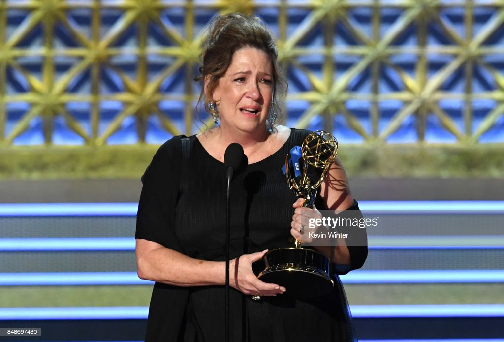 Actor Ann Dowd accepts Outstanding Supporting Actress in a Drama Series for 'The Handmaid's Tale' onstage during the 69th Annual Primetime Emmy Awards at Microsoft Theater on September 17, 2017 in Los Angeles, California.