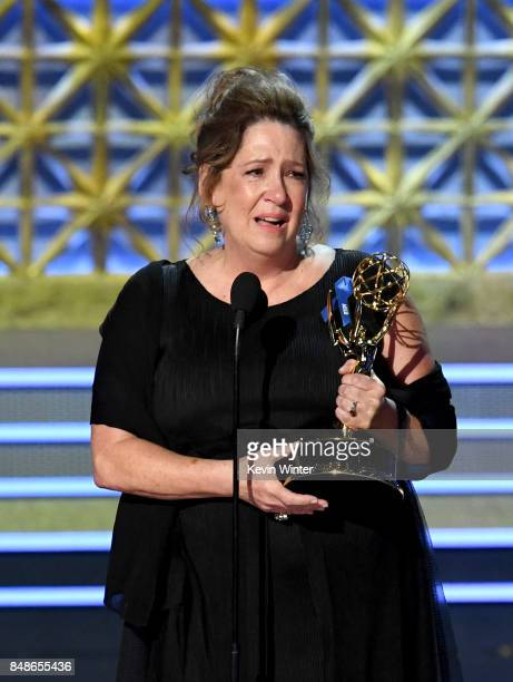 Actor Ann Dowd accepts the Outstanding Supporting Actress in a Drama Series for 'The Handmaid's Tale' onstage during the 69th Annual Primetime Emmy...