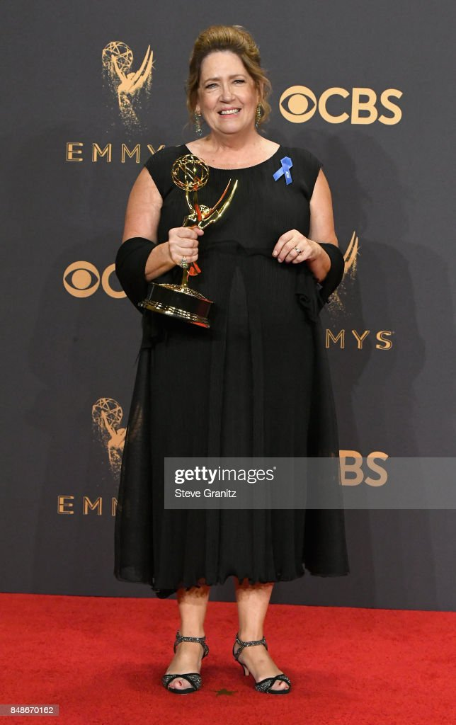Actor Ann Dowd, winner of the award for Outstanding Supporting Actress in a Drama Series for 'The Handmaid's Tale,' poses in the press room during the 69th Annual Primetime Emmy Awards at Microsoft Theater on September 17, 2017 in Los Angeles, California.