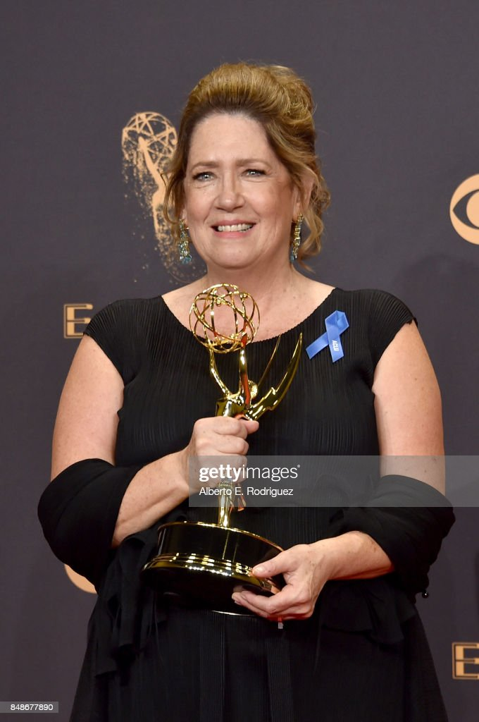 Actor Ann Dowd, winner of the award for Outstanding Supporting Actress in a Drama Series award for 'The Handmaid's Tale,' poses in the press room during the 69th Annual Primetime Emmy Awards at Microsoft Theater on September 17, 2017 in Los Angeles, California.