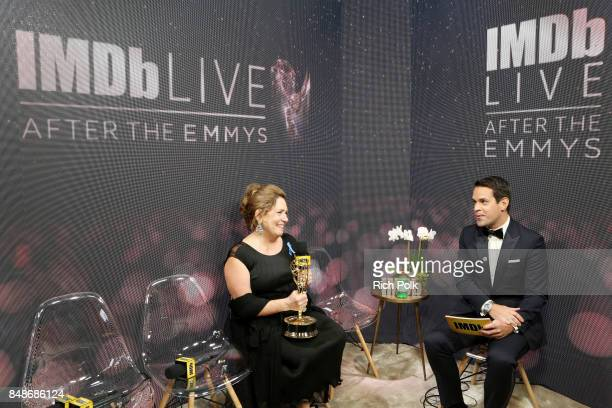 Actor Ann Dowd winner of the award for Outstanding Supporting Actress in a Drama Series for 'The Handmaid's Tale' and host Dave Karger attend IMDb...