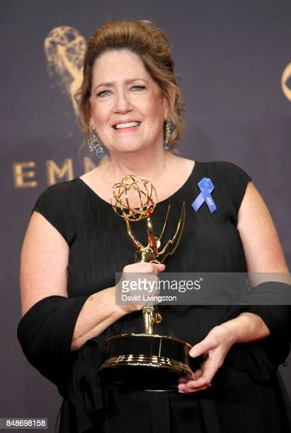 Actor Ann Dowd winner of the award for Outstanding Supporting Actress in a Drama Series for 'The Handmaid's Tale' poses in the press room during the...