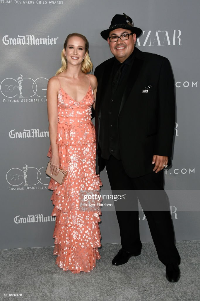 Actor Anna Camp (L) and CDG President Salvador Perez attend the Costume Designers Guild Awards at The Beverly Hilton Hotel on February 20, 2018 in Beverly Hills, California.