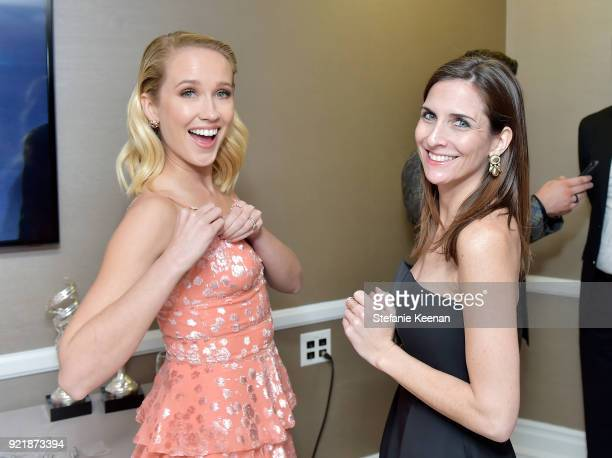Actor Anna Camp and CDGA Executive Producer Sarah Cowperthwaite attend the Costume Designers Guild Awards at The Beverly Hilton Hotel on February 20...