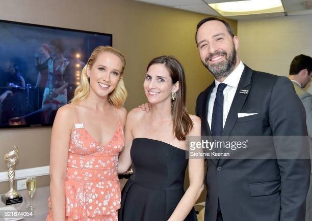 Actor Anna Camp CDGA Executive Producer Sarah Cowperthwaite and actor Tony Hale attend the Costume Designers Guild Awards at The Beverly Hilton Hotel...