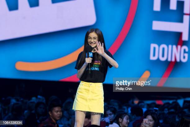 Actor Anna Cathcart speaks at WE Day Vancouver at Rogers Arena on November 22 2018 in Vancouver Canada