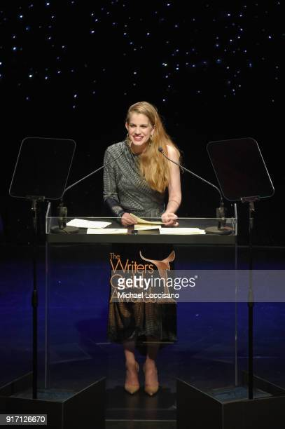 Actor Anna Chlumsky speaks onstage during the 70th Annual Writers Guild Awards New York at Edison Ballroom on February 11 2018 in New York City