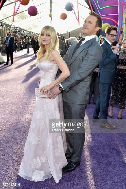 Actor Anna Faris and Chris Pratt at the premiere of Disney and Marvel's 'Guardians Of The Galaxy Vol 2' at Dolby Theatre on April 19 2017 in...