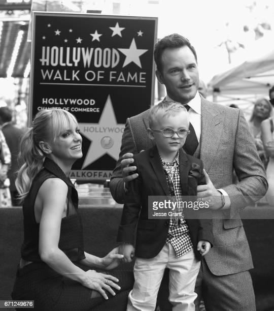 Actor Anna Faris Jack Pratt and actor Chris Pratt at the Chris Pratt Walk Of Fame Star Ceremony on April 21 2017 in Hollywood California