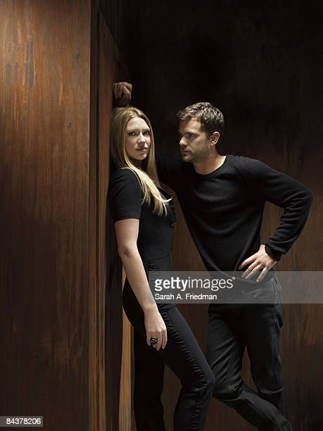 Actor Anna Torv and actor Joshua Jackson pose at a portrait session for Entertainment Weekly Magazine Published image
