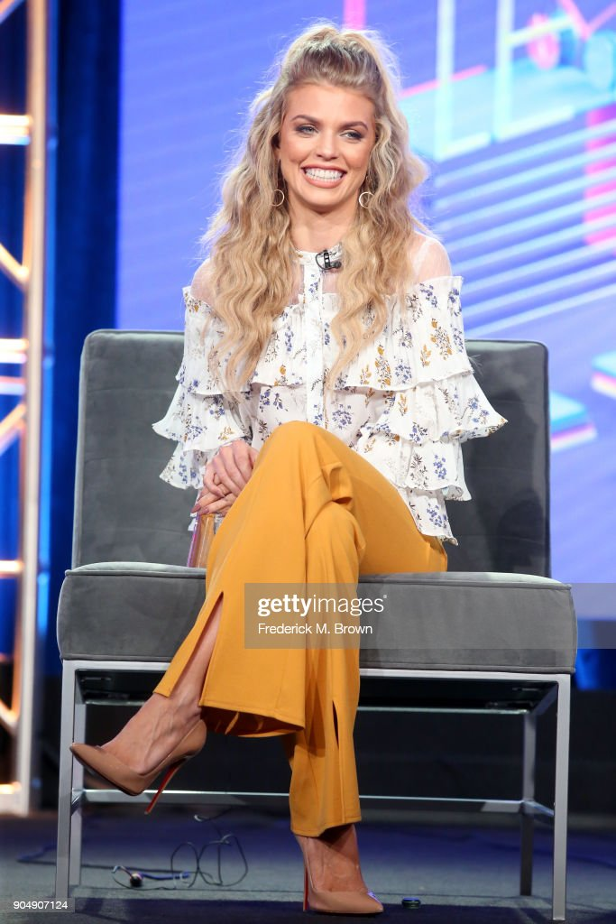 Actor AnnaLynne McCord of 'Let's Get Physical' speaks onstage during the POPTV portion of the 2018 Winter Television Critics Association Press Tour at The Langham Huntington, Pasadena on January 14, 2018 in Pasadena, California.