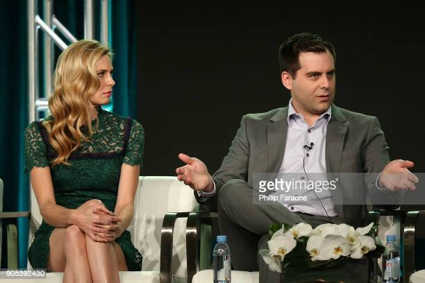 Actor Anne Dudek and Executive producer/Writer/Actor Jake Weisman of 'Corporate' speak onstage during the Comedy Central portion of the 2018 Winter...