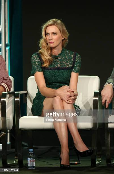 Actor Anne Dudek of 'Corporate' speaks onstage during the Comedy Central portion of the 2018 Winter TCA on January 15 2018 in Pasadena California