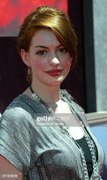 """Actor Anne Hathaway attends the film premiere of """"The Princess Diaries 2: Royal Engagement"""" at Disneyland on August 7, 2004 in Anaheim, California...."""