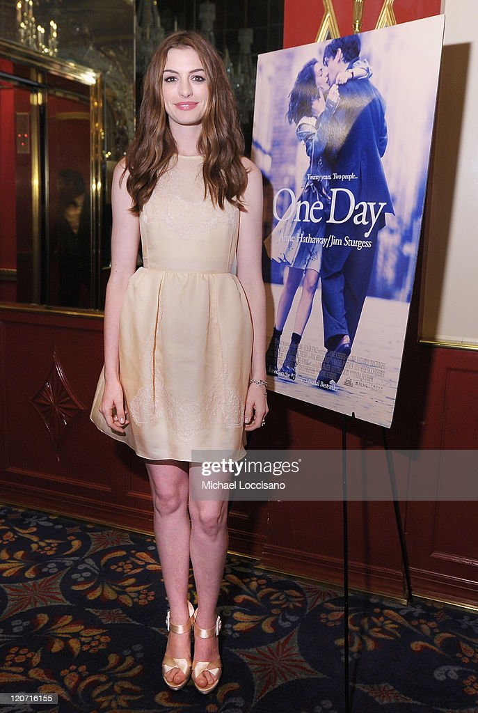 Actor Anne Hathaway attends the 'One Day' premiere after party at the Russian Tea Room on August 8, 2011 in New York City.
