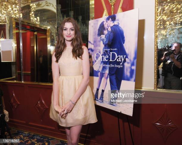 "Actor Anne Hathaway attends the ""One Day"" premiere after party at the Russian Tea Room on August 8, 2011 in New York City."