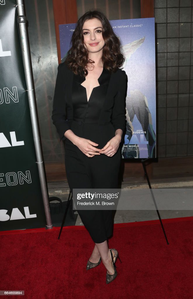 Actor Anne Hathaway attends the Premiere Of Neon's 'Colossal' at the Vista Theatre on April 4, 2017 in Los Angeles, California.