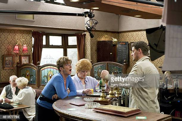 Actor Anne Kirkbride on set whilst recording an episode of Coronation Street is photographed for the Observer on April 11 2005 in Manchester England