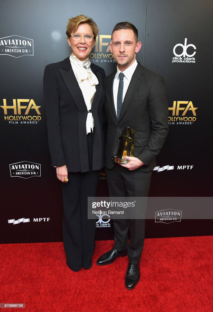 Actor Annette Bening (L) and honoree Jamie Bell, recipient of the New Hollywood Actor Award for 'Film Stars Don't Die in Liverpool,' pose in the press room during the 21st Annual Hollywood Film Awards at The Beverly Hilton Hotel on November 5, 2017 in Beverly Hills, California.
