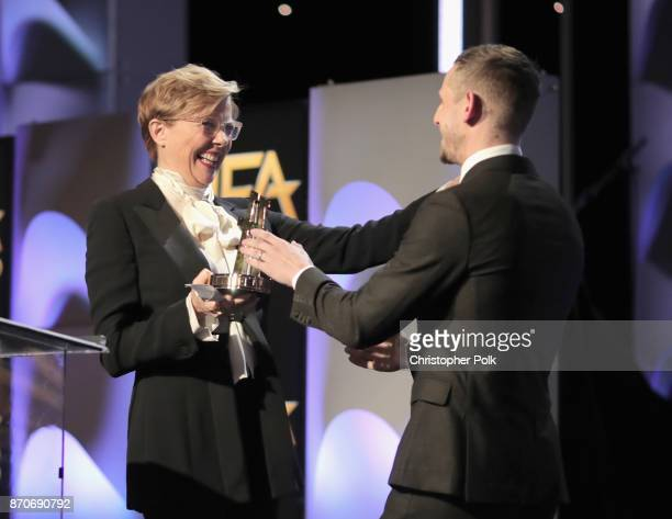 Actor Annette Bening presents the New Hollywood Actor Award for 'Film Stars Don't Die in Liverpool' to honoree Jamie Bell onstage during the 21st...