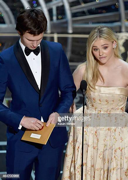 Actor Ansel Elgort and actress Chloe Grace Moretz speak onstage during the 87th Annual Academy Awards at Dolby Theatre on February 22 2015 in...