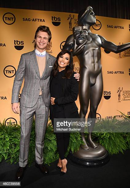 Actor Ansel Elgort and actress Eva Longoria attend TNT's 21st Annual Screen Actors Guild Awards Nominations Announcement at the SilverScreen Theater...