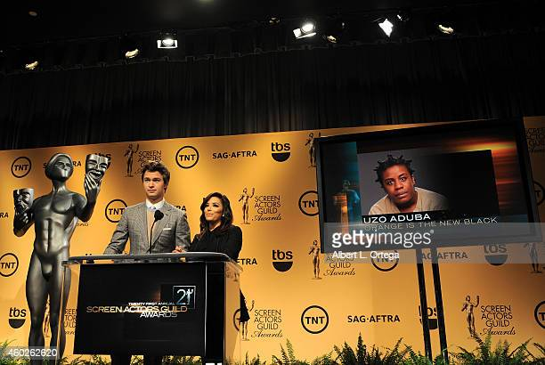 Actor Ansel Elgort and actress Eva Longoria read the nominations at the 21st Annual Screen Actors Guild Award Nominations and Holiday Display held at...