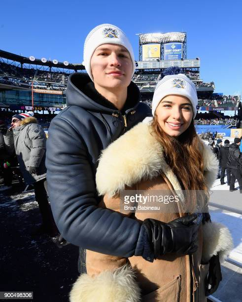 Actor Ansel Elgort and ballerina Violetta Komyshan attend the 2018 Bridgestone NHL Winter Classic between the New York Rangers and the Buffalo Sabres...