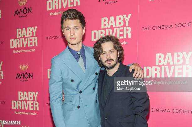 Actor Ansel Elgort and Director Edgar Wright attend TriStar Pictures The Cinema Society and Avion's screening of Baby Driver at The Metrograph on...