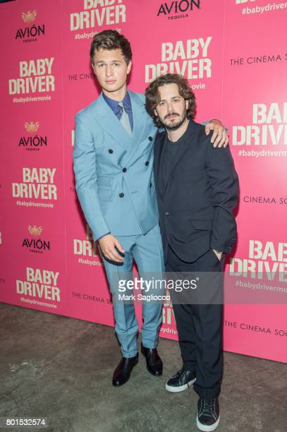 Actor Ansel Elgort and Director Edgar Wright attend TriStar Pictures The Cinema Society and Avion's screening of 'Baby Driver' at The Metrograph on...