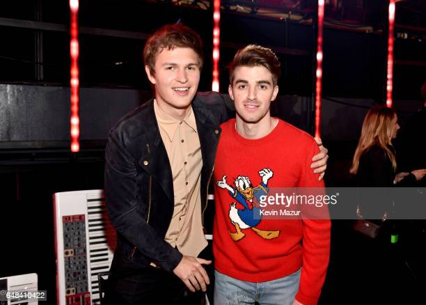 Actor Ansel Elgort and DJ Andrew Taggart of The Chainsmokers attend the 2017 iHeartRadio Music Awards which broadcast live on Turner's TBS TNT and...