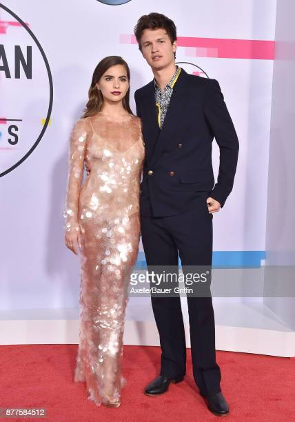 Actor Ansel Elgort and Violetta Komyshan arrive at the 2017 American Music Awards at Microsoft Theater on November 19 2017 in Los Angeles California