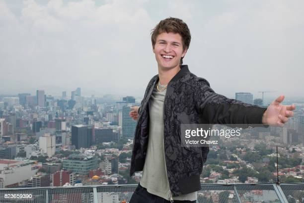 Actor Ansel Elgort attends a photocall to promote the film 'Baby Driver' at St Regis Hotel heliport on July 27 2017 in Mexico City Mexico