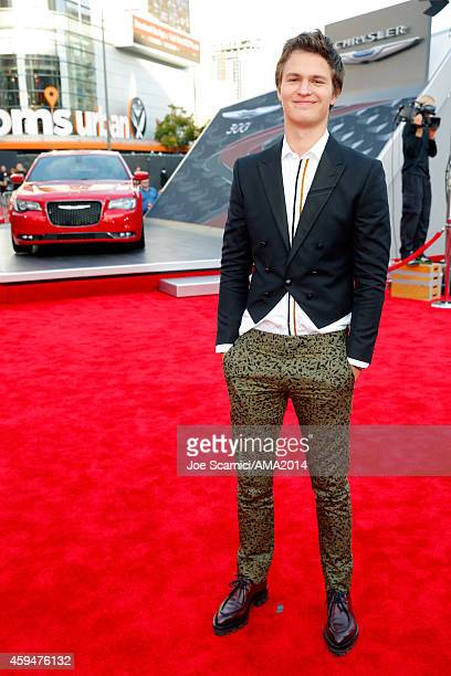 Actor Ansel Elgort attends the 2014 American Music Awards red carpet arrivals featuring the AllNew Chrysler 300S at Nokia Theatre LA Live on November...