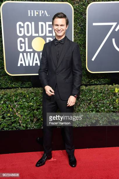 Actor Ansel Elgort attends The 75th Annual Golden Globe Awards at The Beverly Hilton Hotel on January 7 2018 in Beverly Hills California