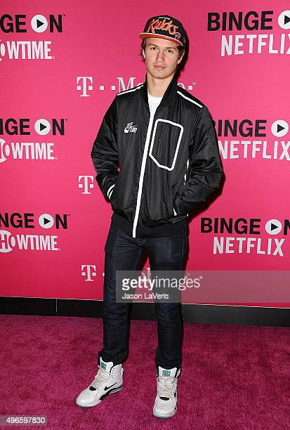 Actor Ansel Elgort attends the TMobile Uncarrier X launch at The Shrine Auditorium on November 10 2015 in Los Angeles California