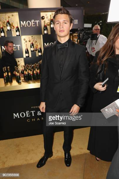 Actor Ansel Elgort celebrates The 75th Annual Golden Globe Awards with Moet Chandon at The Beverly Hilton Hotel on January 7 2018 in Beverly Hills...