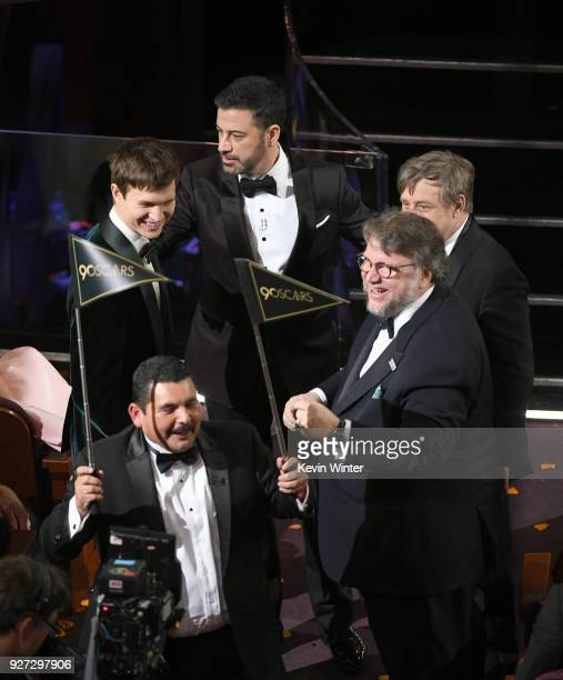 Actor Ansel Elgort host Jimmy Kimmel actor Mark Hamill director Guillermo del Toro and TV personality Guillermo Rodriguez speak onstage during the...