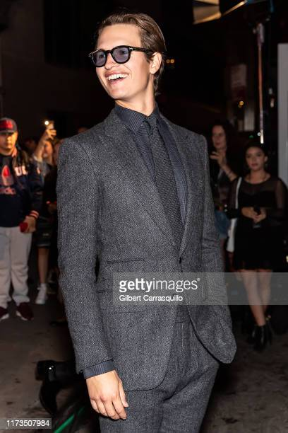 Actor Ansel Elgort is seen leaving the Tom Ford fashion show during New York Fashion Week on September 09, 2019 in New York City.
