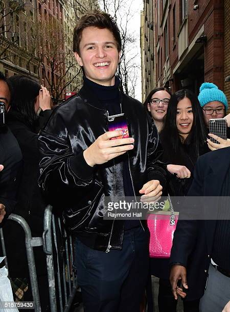 Actor Ansel Elgort is seen outside Live with Kelly and Michael on March 15 2016 in New York City