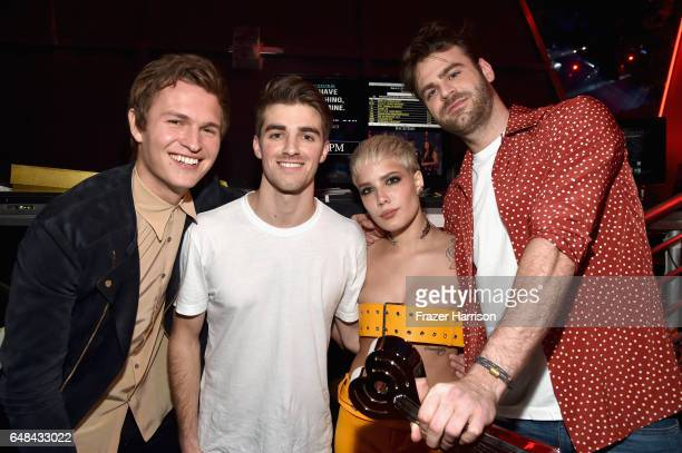 Actor Ansel Elgort poses backstage with DJs Drew Taggart and Alex Pall of The Chainsmokers and singer Halsey winners of Dance Song of the Year for...
