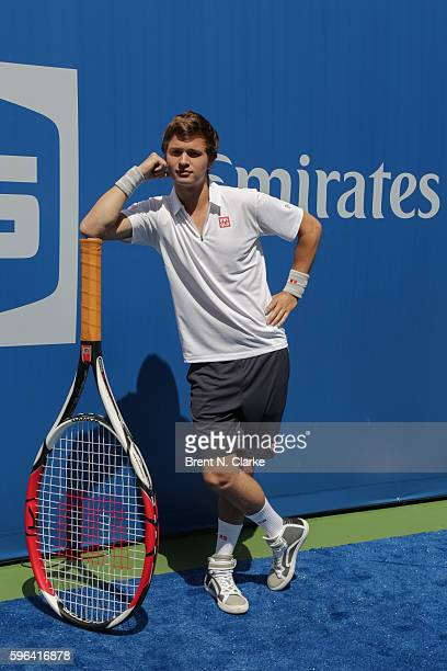 Actor Ansel Elgort poses for photographs during the 2016 Arthur Ashe Kids' Day held at the USTA Billie Jean King National Tennis Center on August 27,...