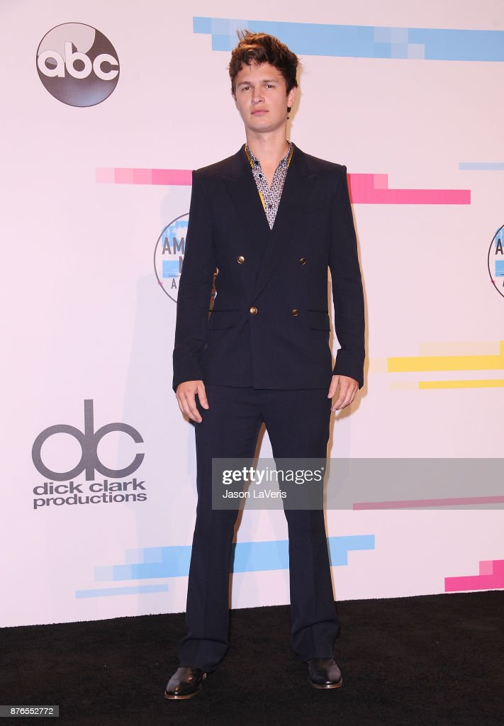Actor Ansel Elgort poses in the press room at the 2017 American Music Awards at Microsoft Theater on November 19, 2017 in Los Angeles, California.