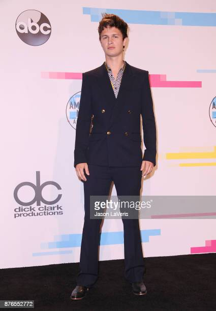 Actor Ansel Elgort poses in the press room at the 2017 American Music Awards at Microsoft Theater on November 19 2017 in Los Angeles California